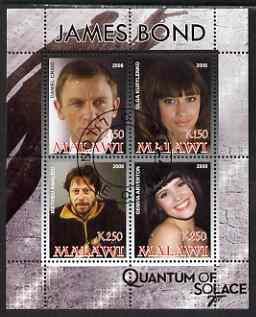 Malawi 2008 James Bond - Quantum of Solace perf sheetlet containing 4 values fine cto used