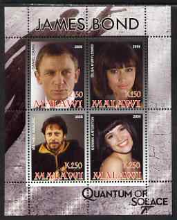 Malawi 2008 James Bond - Quantum of Solace perf sheetlet containing 4 values unmounted mint