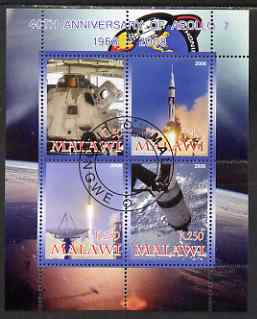 Malawi 2008 40th Anniversary of Apollo 7 perf sheetlet containing 4 values fine cto used