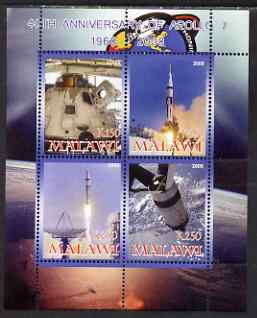 Malawi 2008 40th Anniversary of Apollo 7 perf sheetlet containing 4 values unmounted mint