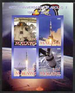 Malawi 2008 40th Anniversary of Apollo 7 imperf sheetlet containing 4 values unmounted mint