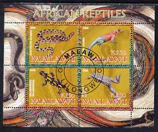 Malawi 2008 African Reptiles perf sheetlet containing 4 values fine cto used
