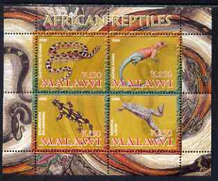Malawi 2008 African Reptiles perf sheetlet containing 4 values unmounted mint