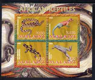 Malawi 2008 African Reptiles imperf sheetlet containing 4 values unmounted mint