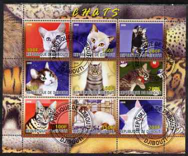 Djibouti 2008 Domestic Cats perf sheetlet containing 9 values fine cto used