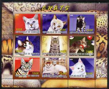 Djibouti 2008 Domestic Cats perf sheetlet containing 9 values unmounted mint, stamps on , stamps on  stamps on cats