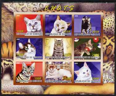 Djibouti 2008 Domestic Cats imperf sheetlet containing 9 values unmounted mint
