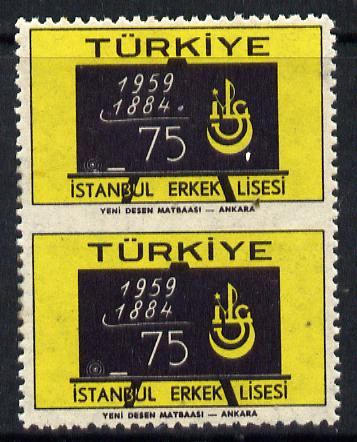 Turkey 1959  Boys High School vert pair imperf between, SG 1842var, stamps on education    blackboard