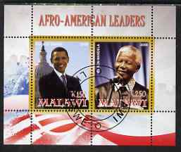 Malawi 2008 Afro-American Leaders #1 - Barack Obama & Nelson Mandela perf sheetlet containing 2 values fine cto used
