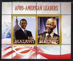 Malawi 2008 Afro-American Leaders #1 - Barack Obama & Nelson Mandela perf sheetlet containing 2 values unmounted mint