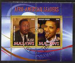 Malawi 2008 Afro-American Leaders #2 - Barack Obama & Martin Luther King perf sheetlet containing 2 values fine cto used