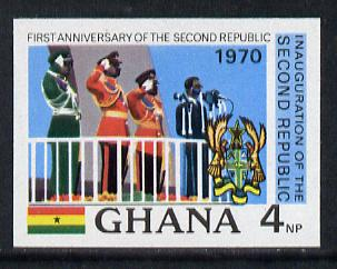 Ghana 1970 Anniversary of 2nd Republic (Saluting March-past) imperf proof on unwatermark gummed paper ex De La Rue archives unmounted mint, as SG 582*, stamps on militaria