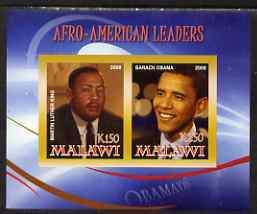Malawi 2008 Afro-American Leaders #2 - Barack Obama & Martin Luther King imperf sheetlet containing 2 values unmounted mint