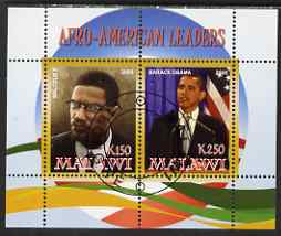 Malawi 2008 Afro-American Leaders #3 - Barack Obama & Malcolm X perf sheetlet containing 2 values fine cto used