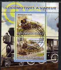 Djibouti 2008 Steam Locos #1 - Iron Duke & BR Standard 5S perf sheetlet containing 2 values fine cto used, stamps on railways