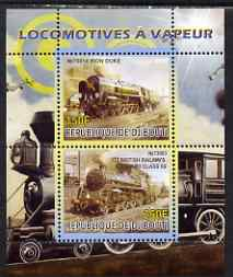 Djibouti 2008 Steam Locos #1 - Iron Duke & BR Standard 5S perf sheetlet containing 2 values unmounted mint