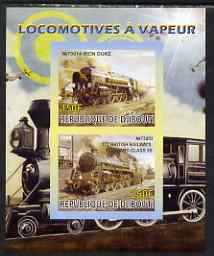 Djibouti 2008 Steam Locos #1 - Iron Duke & BR Standard 5S imperf sheetlet containing 2 values unmounted mint