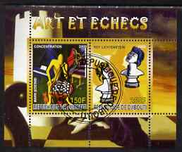 Djibouti 2008 Art & Chess #1 - perf sheetlet containing 2 values fine cto used