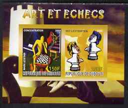 Djibouti 2008 Art & Chess #1 - imperf sheetlet containing 2 values unmounted mint