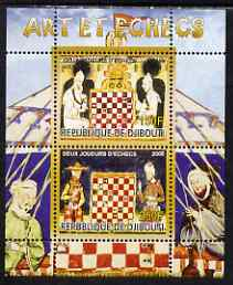 Djibouti 2008 Art & Chess #3 - perf sheetlet containing 2 values unmounted mint
