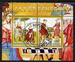Djibouti 2008 Art & Chess #4 - perf sheetlet containing 2 values fine cto used