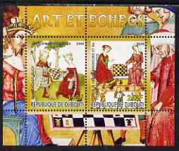 Djibouti 2008 Art & Chess #4 - perf sheetlet containing 2 values unmounted mint