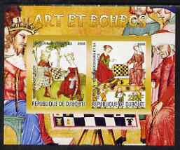 Djibouti 2008 Art & Chess #4 - imperf sheetlet containing 2 values unmounted mint