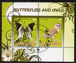Malawi 2008 Butterflies & Owls perf sheetlet containing 2 values fine cto used