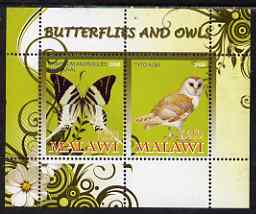 Malawi 2008 Butterflies & Owls perf sheetlet containing 2 values unmounted mint