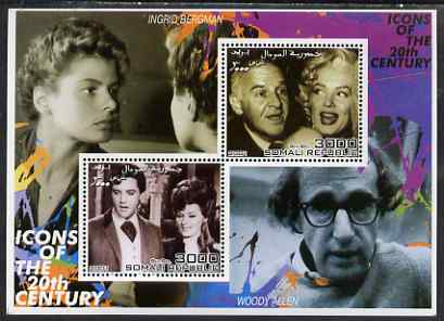 Somalia 2001 Icons of the 20th Century #05 - Elvis & Marilyn perf sheetlet containing 2 values with Ingrid Bergman & Woody Allen in background unmounted mint