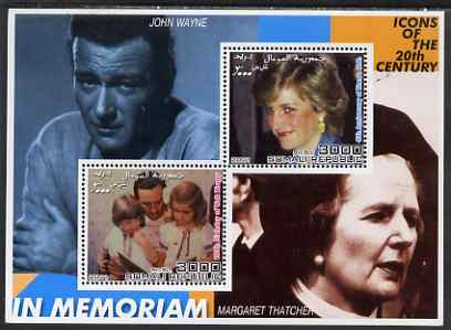 Somalia 2001 Icons of the 20th Century #13 - Diana & Walt Disney perf sheetlet containing 2 values with John Wayne & Margaret Thatcher in background unmounted mint