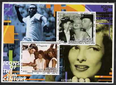 Somalia 2001 Icons of the 20th Century #14 - Elvis & Marilyn perf sheetlet containing 2 values with Pele & Katharine Hepburn in background unmounted mint. Note this item is privately produced and is offered purely on its thematic appeal