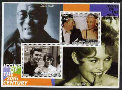 Somalia 2001 Icons of the 20th Century #07 - Elvis & Marilyn perf sheetlet containing 2 values with Dalai Lama & Brigitte Bardot in background unmounted mint