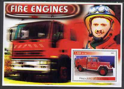 Somalia 2002 Fire Engines #1 perf s/sheet unmounted mint (Image shows Col Evegeny Chernyshov, Chief of Moscow City Fire Department, recently awarded National Hero Star)