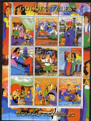 Somalia 2000 Golden Tales #2 perf sheetlet containing set of 9 values unmounted mint