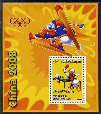 Somalia 2006 Beijing Olympics (China 2008) #03 - Donald Duck Sports - Table Tennis & Skiing perf souvenir sheet unmounted mint with Olympic Rings overprinted on stamp and in margin at upper left