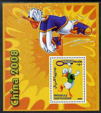 Somalia 2006 Beijing Olympics (China 2008) #04 - Donald Duck Sports - Running & Tennis perf souvenir sheet unmounted mint. Note this item is privately produced and is offered purely on its thematic appeal, stamps on disney, stamps on entertainments, stamps on films, stamps on cinema, stamps on cartoons, stamps on sport, stamps on stamp exhibitions, stamps on running, stamps on tennis, stamps on , stamps on olympics
