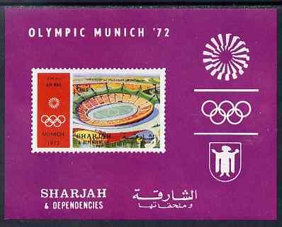 Sharjah 1971 Munich Olympics (Stadium) 6r imperf m/sheet unmounted mint, Mi BL 90B