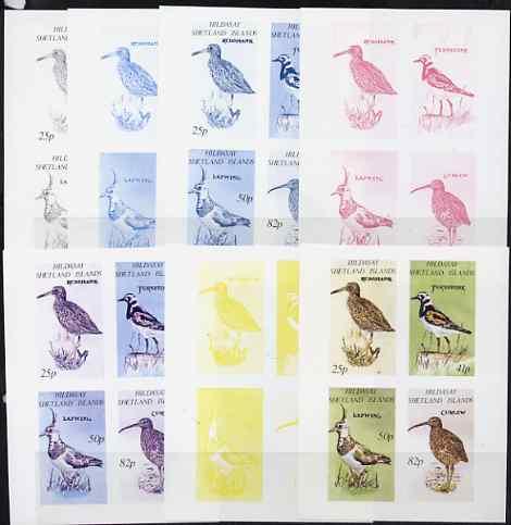 Shetland Islands 1995 Birds imperf sheetlet of 4, the set of 7 imperf progressive proofs comprising the 4 individual colours plus 2, 3 and all 4-colour composites, unmoun...