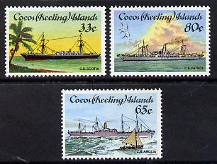 Cocos (Keeling) Islands 1985 Cable-laying Ships set of 3 unmounted mint, SG 129-31