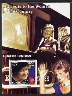 Somaliland 2002 A Tribute to the Woman of the Century #10 - The Queen Mother perf m/sheet also showing Walt Disney (on Train) & Diana, unmounted mint