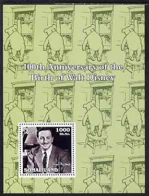 Somaliland 2002 Birth Centenary of Walt Disney #01 perf m/sheet (green background with Winnie the Pooh) unmounted mint