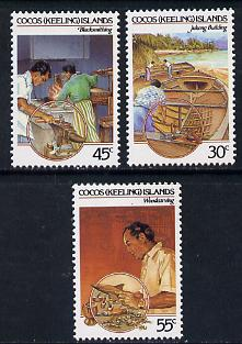 Cocos (Keeling) Islands 1985 Cocos-Malay Culture #2 (Handicrafts - Blacksmith, Woodcarving, Building Ships) set of 3 unmounted mint, SG 126-28