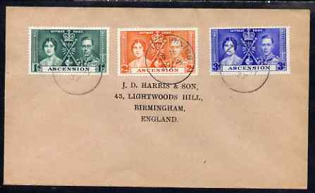 Ascension 1937 KG6 Coronation set of 3 on cover with first day cancel addressed to the forger, J D Harris.  Harris was imprisoned for 9 months after Robson Lowe exposed h..., stamps on , stamps on  kg6 , stamps on forgery, stamps on forger, stamps on forgeries, stamps on coronation