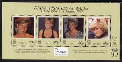 Tuvalu 1998 Diana, Princess of Wales Commemoration perf sheetlret containing 4 values unmounted mint, SG MS803