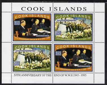 Cook Islands 1995 50th Anniversary of the End of WW2 perf sheetlet containing 4 values (2 sets of 2) unmounted mint, SG 1379-80