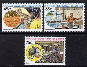 Cocos (Keeling) Islands 1987 Cocos-Malay Industries (Batik Printing, Boat Building & Copra) set of 3 unmounted mint, SG 169-71