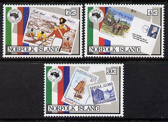 Norfolk Island 1984 'Ausipex' Stamp Exhibition set of 3 unmounted mint, SG 343-45