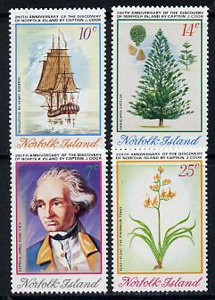 Norfolk Island 1974 Captain Cook Bicentenary (4th Issue) set of 4 (Flax, Trees, Ships) SG 152-55 unmounted mint