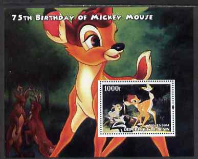 Benin 2004 75th Birthday of Mickey Mouse - Bambi perf m/sheet unmounted mint